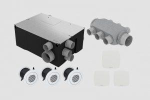 Kit VMC double flux Sauter Gorner avec échangeur, caisson de répartition, bouches d'extraction et de soufflage
